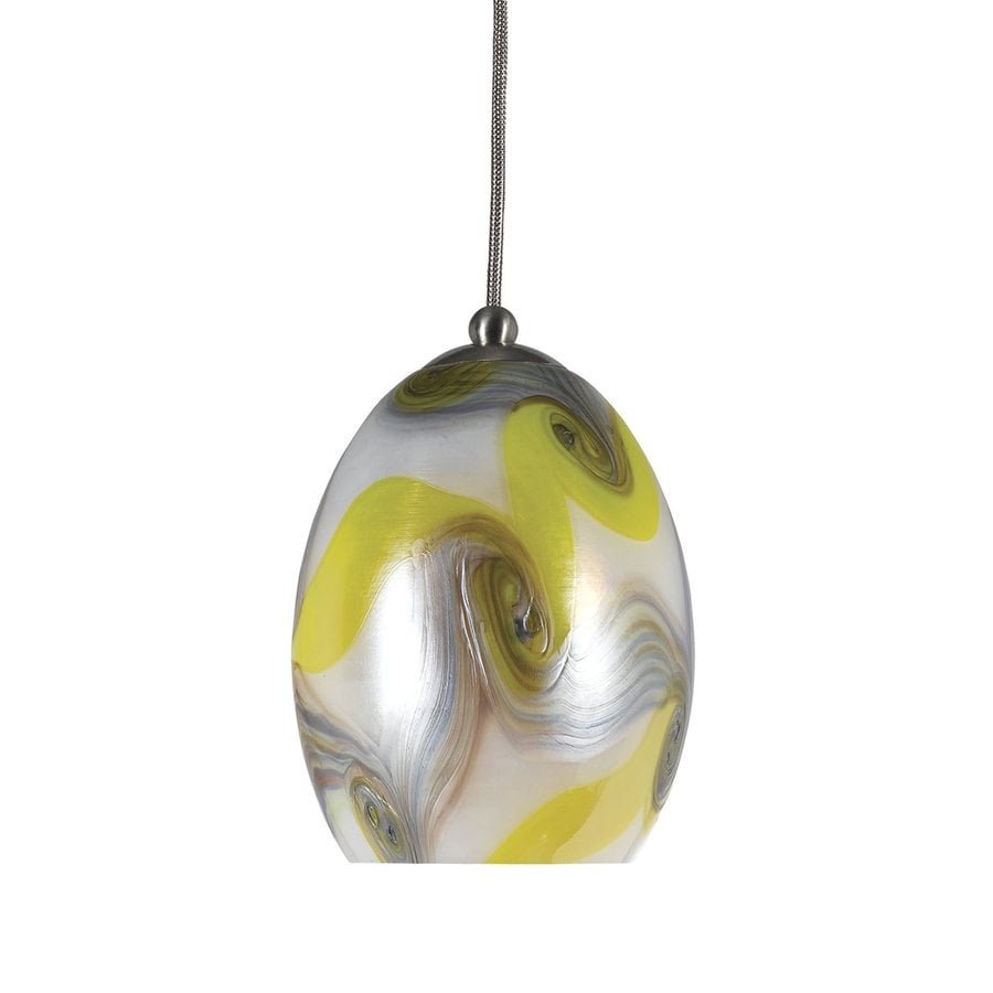 Cal Lighting 4-in Braided Steel Mini Art Glass Oval Pendant