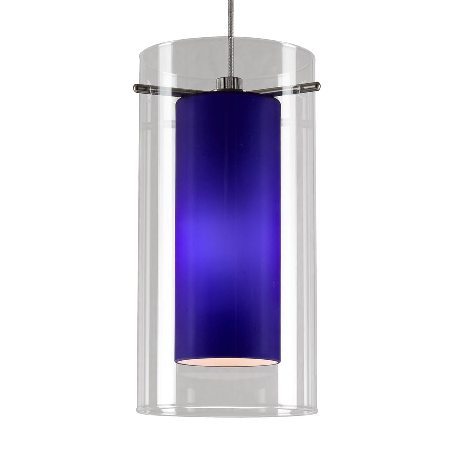 Cal Lighting 3.9-in Braided Steel Mini Tinted Glass Cylinder Pendant