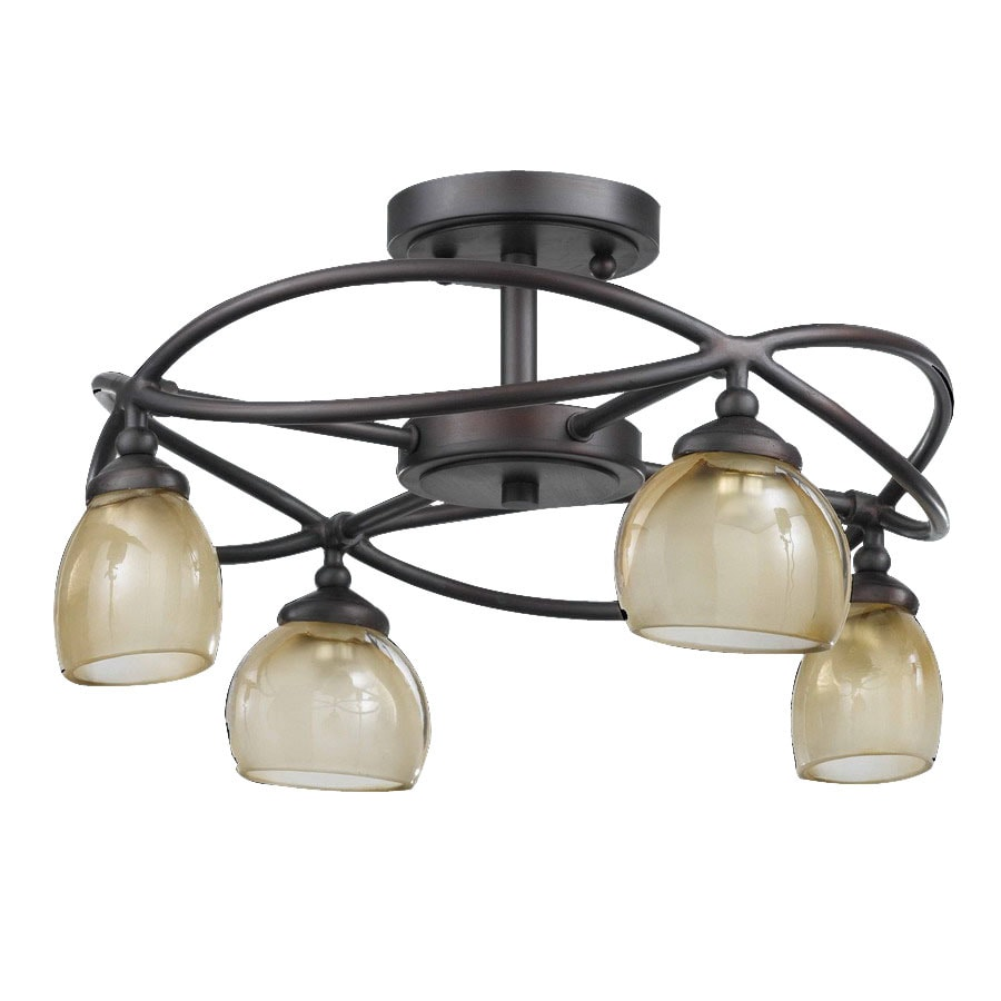 international 15 1 2 in bronze semi flush mount light at