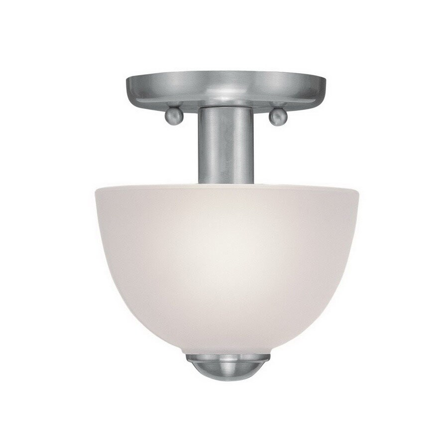 Livex Lighting Somerset 6.5-in W Brushed Nickel Semi-Flush Mount Light