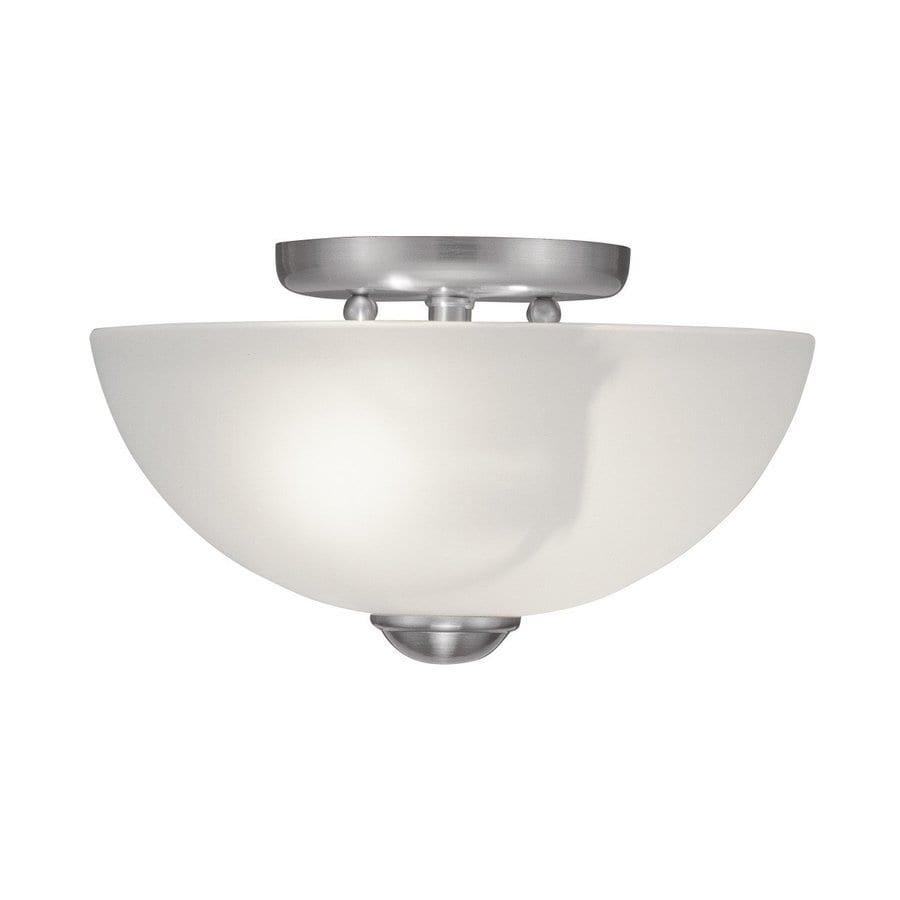 Livex Lighting Somerset 11-in W Brushed Nickel Frosted Glass Semi-Flush Mount Light