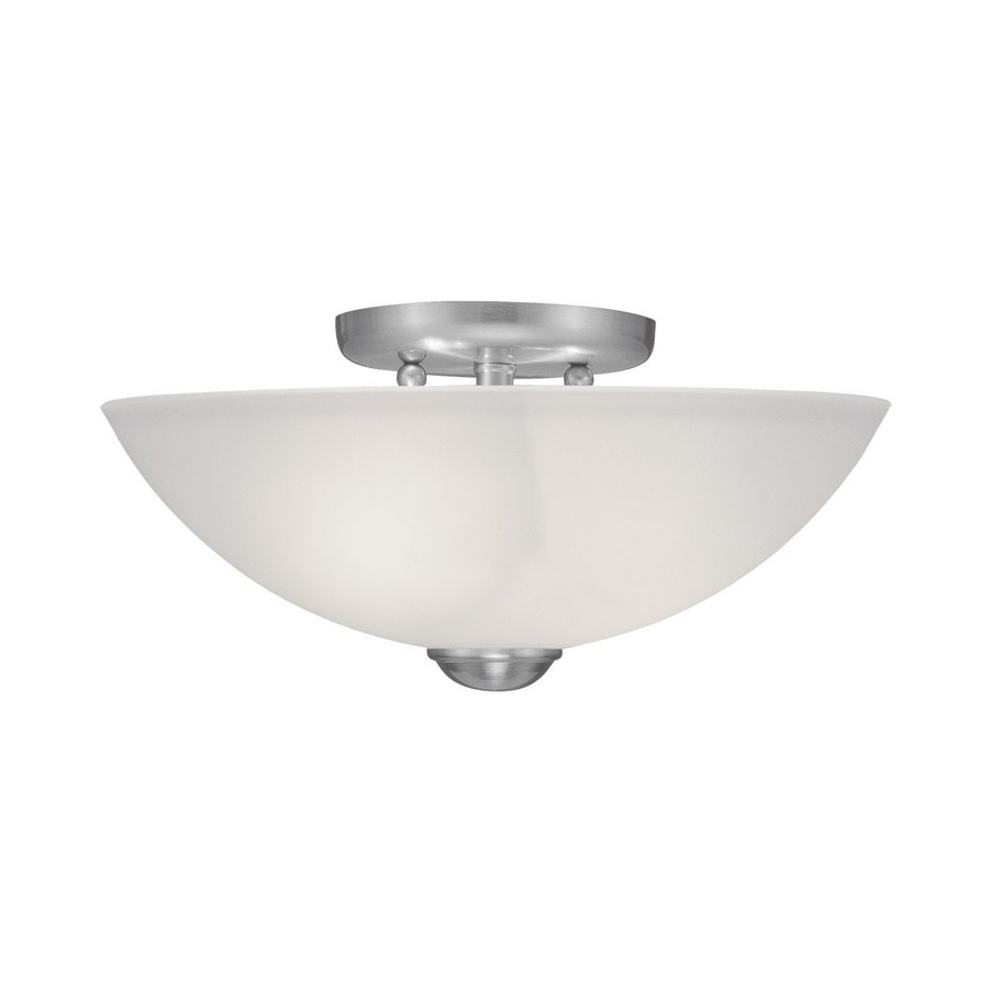 Livex Lighting Somerset 13-in W Brushed Nickel Frosted Glass Semi-Flush Mount Light