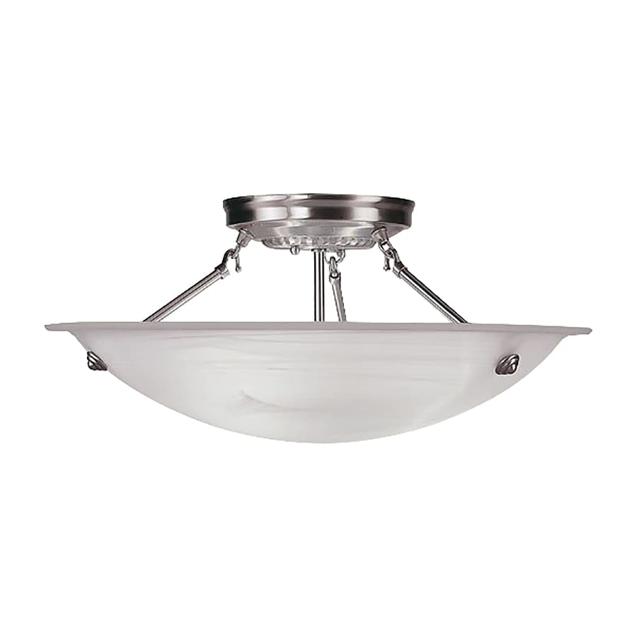 Livex Lighting Oasis 20-in W Brushed Nickel Alabaster Glass Semi-Flush Mount Light
