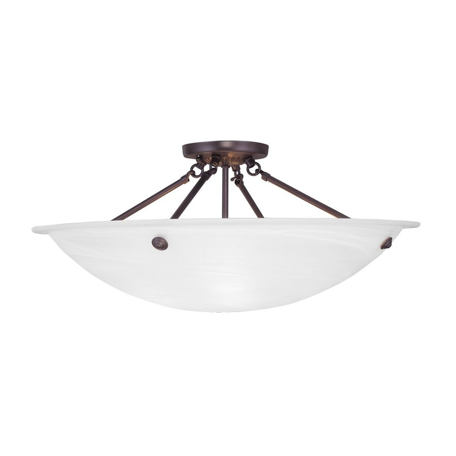 Livex Lighting Home Basics 24-in W Bronze Alabaster Glass Semi-Flush Mount Light
