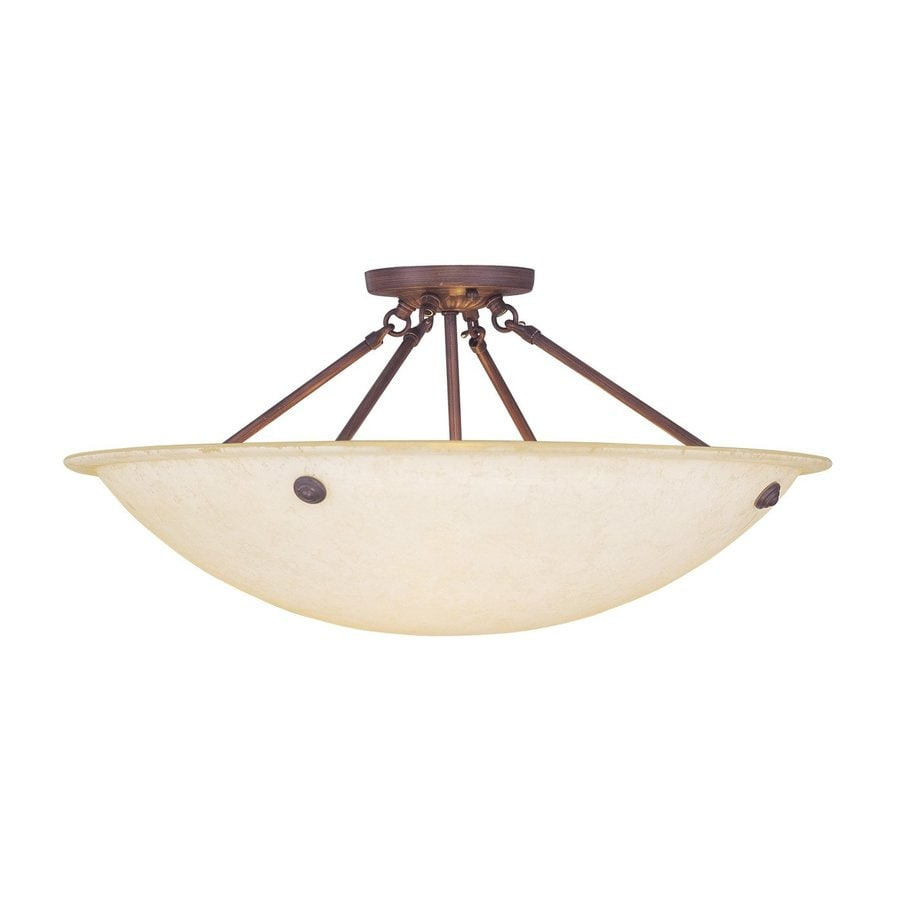 Livex Lighting Oasis 24-in W Imperial Bronze Alabaster Glass Semi-Flush Mount Light