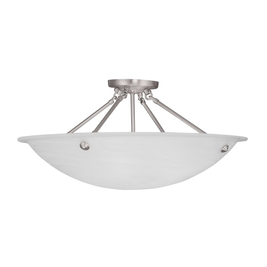 Livex Lighting Livingston 24-in W Brushed Nickel Alabaster Glass Semi-Flush Mount Light