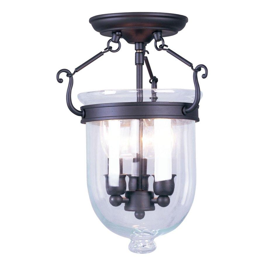 Livex Lighting Jefferson 10-in W Bronze Clear Glass Semi-Flush Mount Light