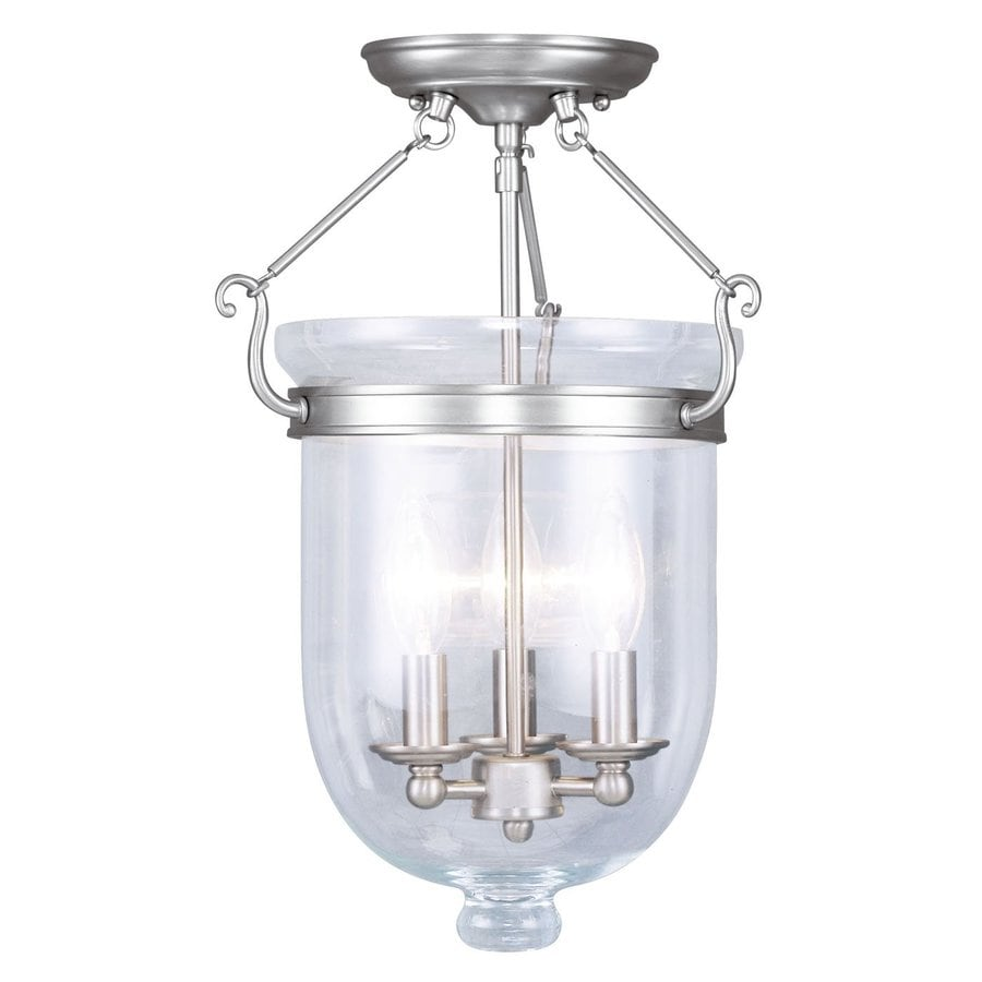 Livex Lighting Jefferson 12-in W Brushed nickel Clear Glass Semi-Flush Mount Light