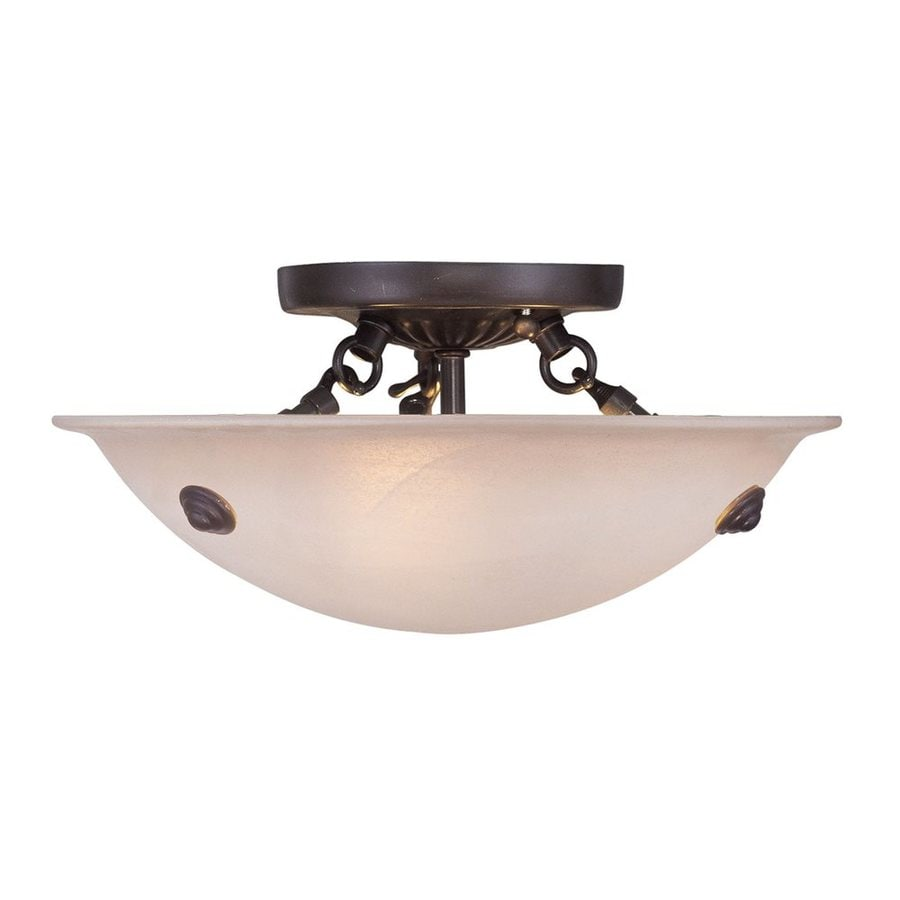 Livex Lighting Oasis 12-in W Bronze Frosted Glass Semi-Flush Mount Light