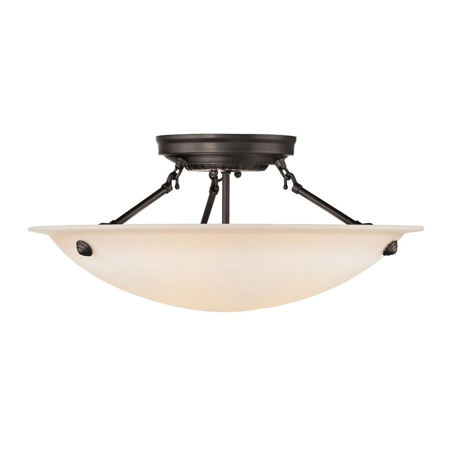 Livex Lighting Oasis 20-in W Bronze Semi-Flush Mount Light