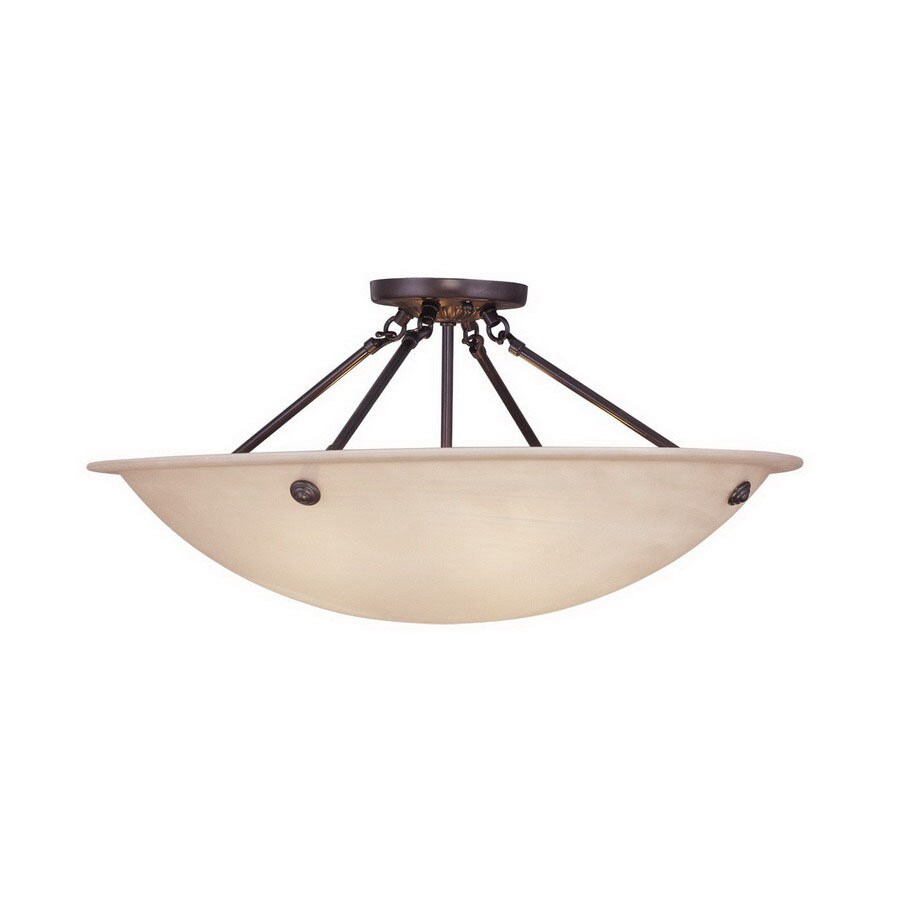 Livex Lighting Oasis 24-in W Bronze Alabaster Glass Semi-Flush Mount Light