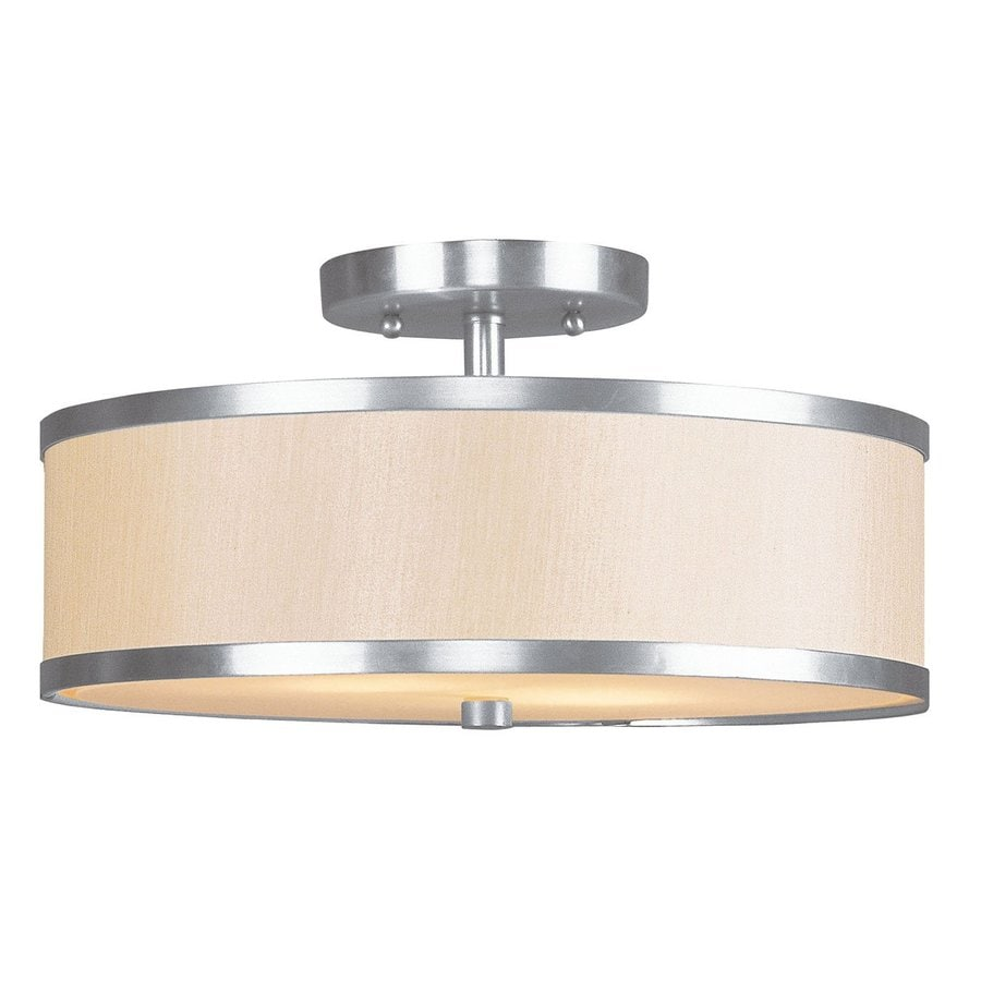 Livex Lighting Park Ridge 13-in W Brushed Nickel Fabric Semi-Flush Mount Light