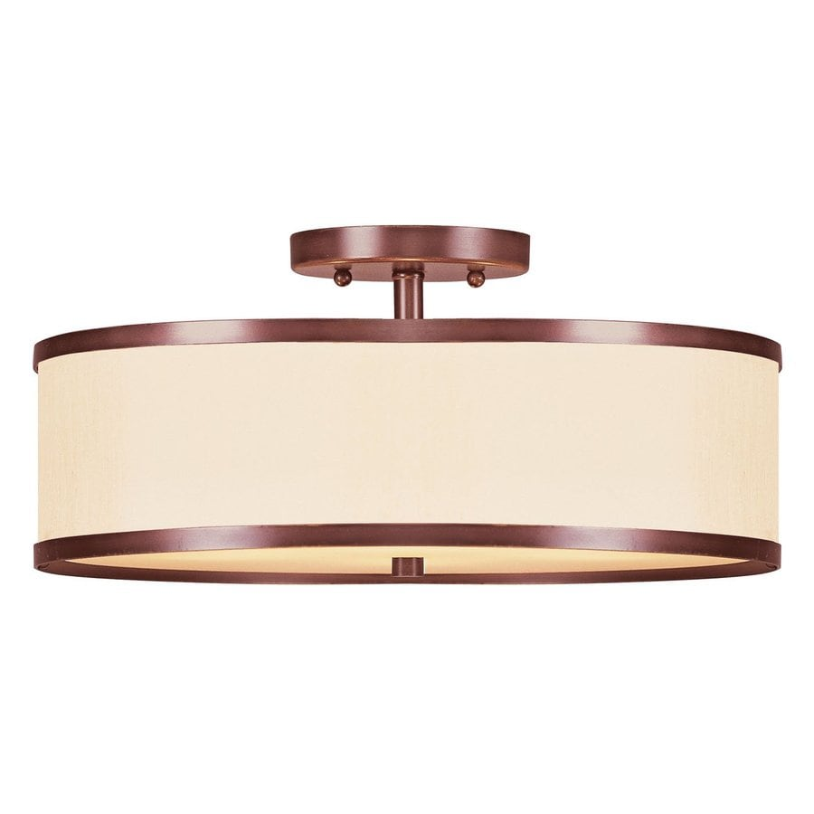 Livex Lighting Park Ridge 15-in W Vintage bronze Fabric Semi-Flush Mount Light
