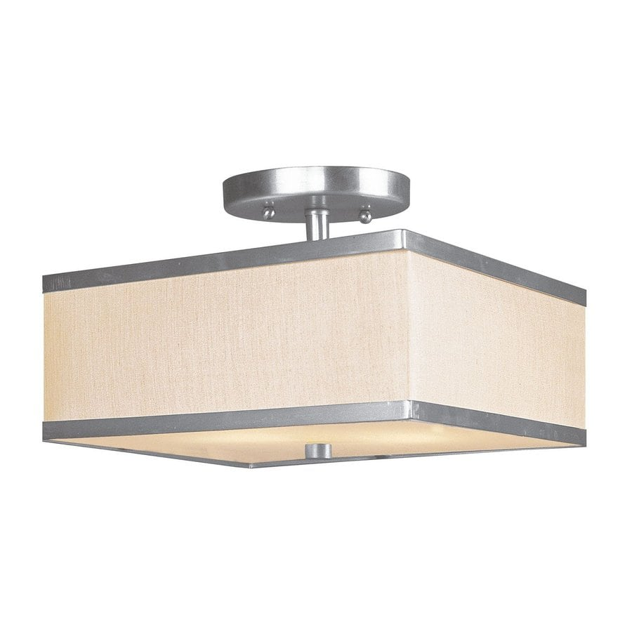 Livex Lighting Park Ridge 10-in W Brushed Nickel Fabric Semi-Flush Mount Light