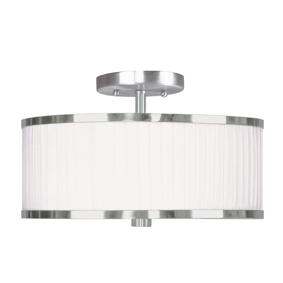 Livex Lighting Park Ridge 13-in W Brushed nickel Frosted Glass Semi-Flush Mount Light