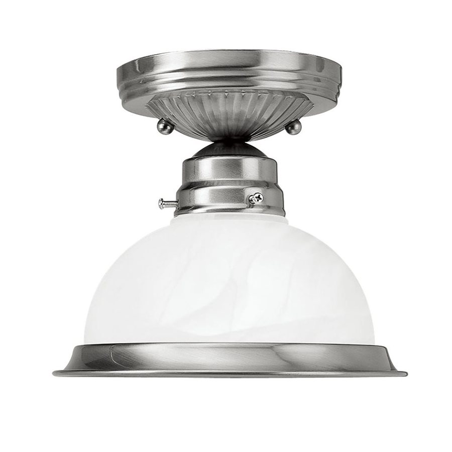 Livex Lighting Home Basics 7.75-in W Brushed Nickel Alabaster Glass Semi-Flush Mount Light