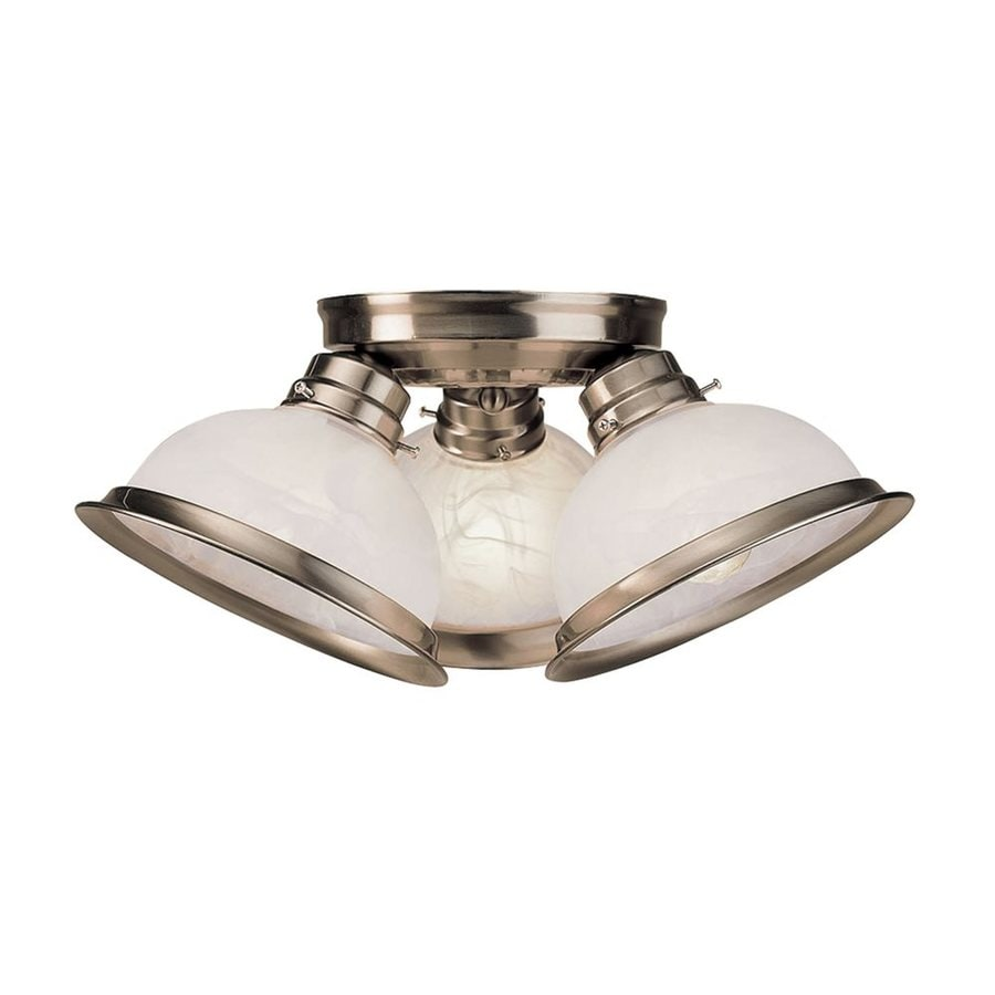 Livex Lighting Home Basics 16.5-in W Brushed Nickel Alabaster Glass Semi-Flush Mount Light