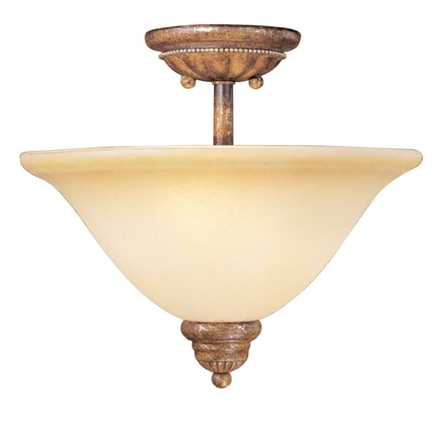 Livex Lighting 13-in W Venetian Patina Art Glass Semi-Flush Mount Light