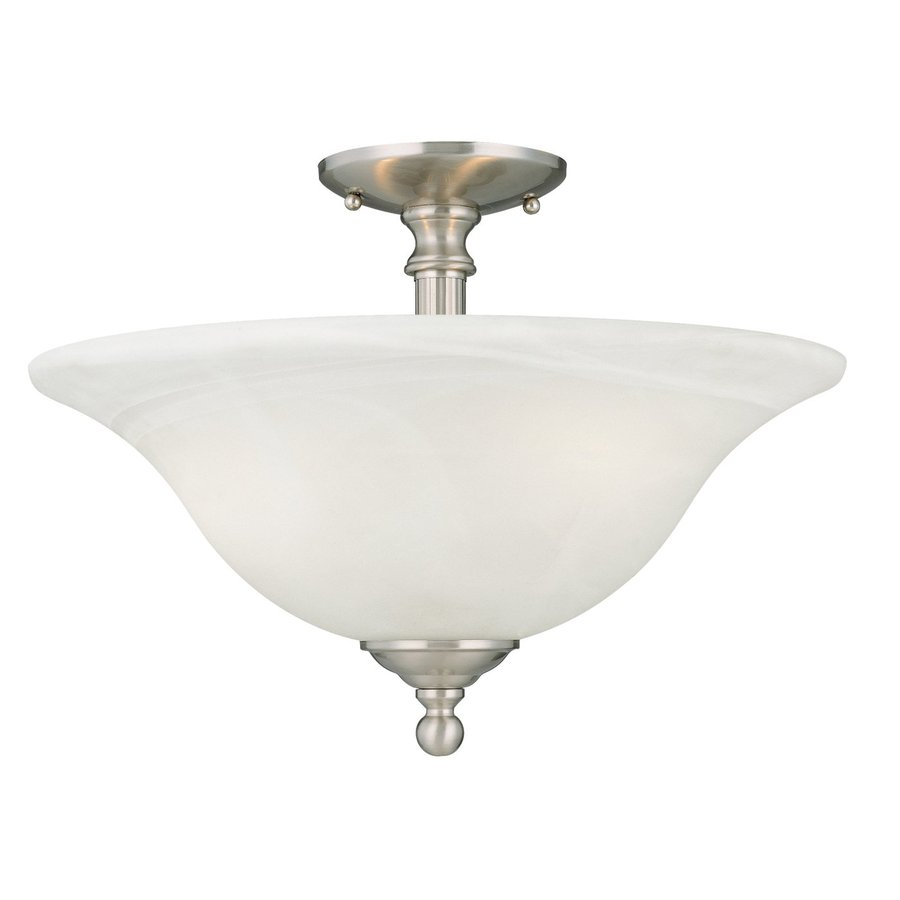 Thomas Lighting Riva 15.5-in W Brushed Nickel Alabaster Glass Semi-Flush Mount Light