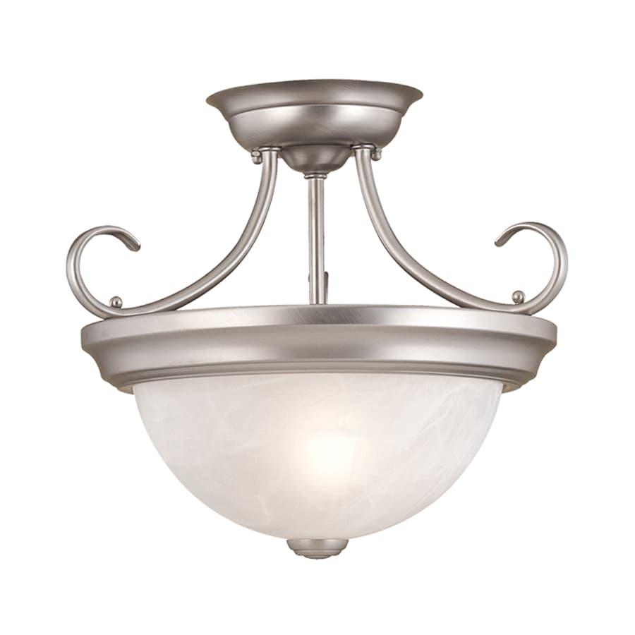 Millennium Lighting 13-in W Satin Nickel Alabaster Glass Semi-Flush Mount Light