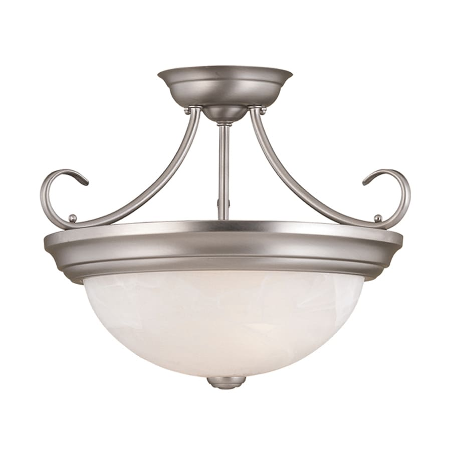 Millennium Lighting 15-in W Satin Nickel Alabaster Glass Semi-Flush Mount Light