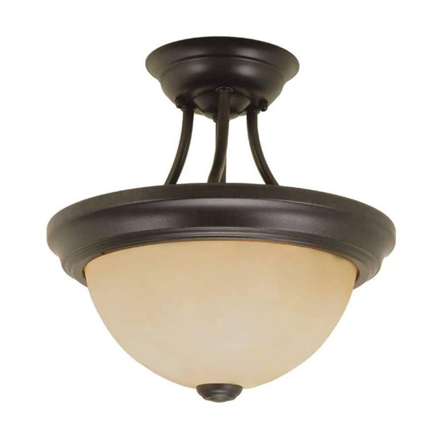 Millennium Lighting 11-in W Burnished Gold Frosted Glass Semi-Flush Mount Light