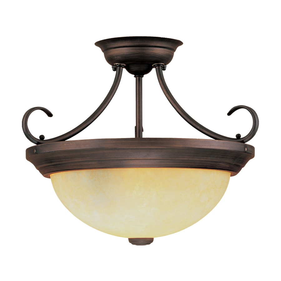 Shop Millennium Lighting 13 In W Rubbed Bronze Frosted Glass Semi Flush Mount Light At