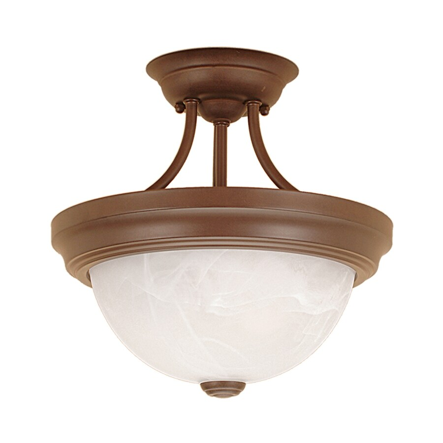 Millennium Lighting 11-in W Bronze Alabaster Glass Semi-Flush Mount Light