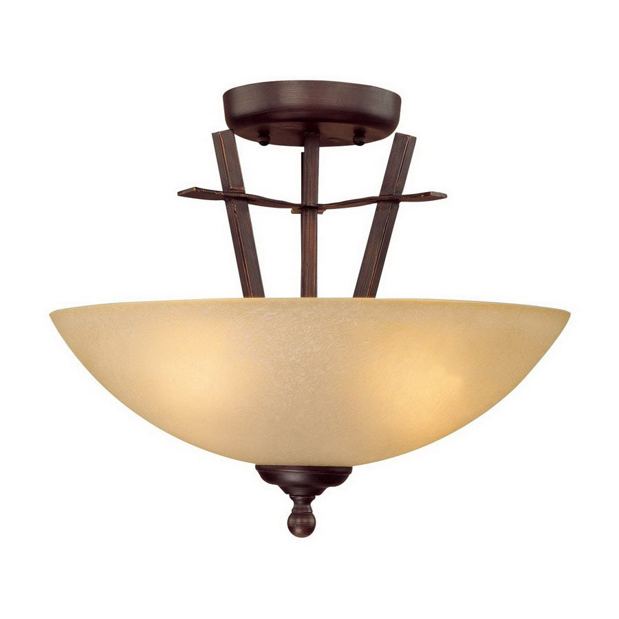 Millennium Lighting 15-in W Rubbed Bronze Semi-Flush Mount Light