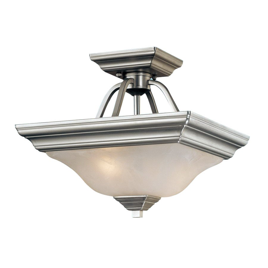 lighting 13 in w satin nickel alabaster glass semi flush mount light