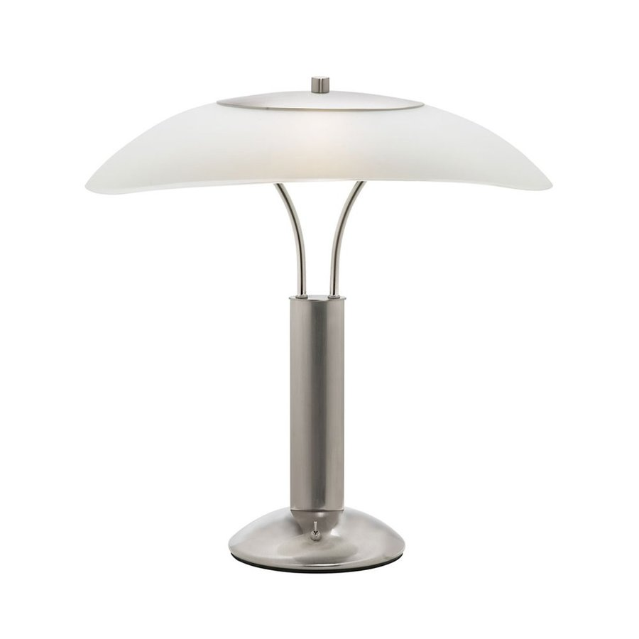 Dainolite Lighting 21-in Satin Chrome Table Lamp with Glass Shade