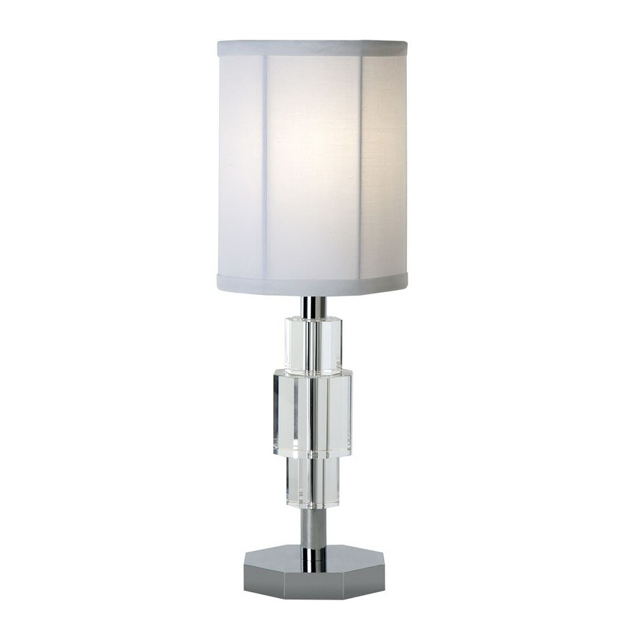 Trend Lighting 20-in Polished Chrome Crystal Accent Indoor Table Lamp with Fabric Shade