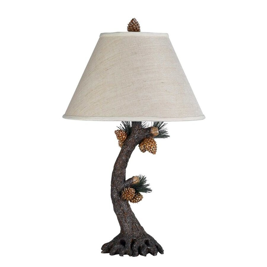 Cal Lighting Pinecone 28-in 3-Way Evergreen Indoor Table Lamp with Fabric Shade