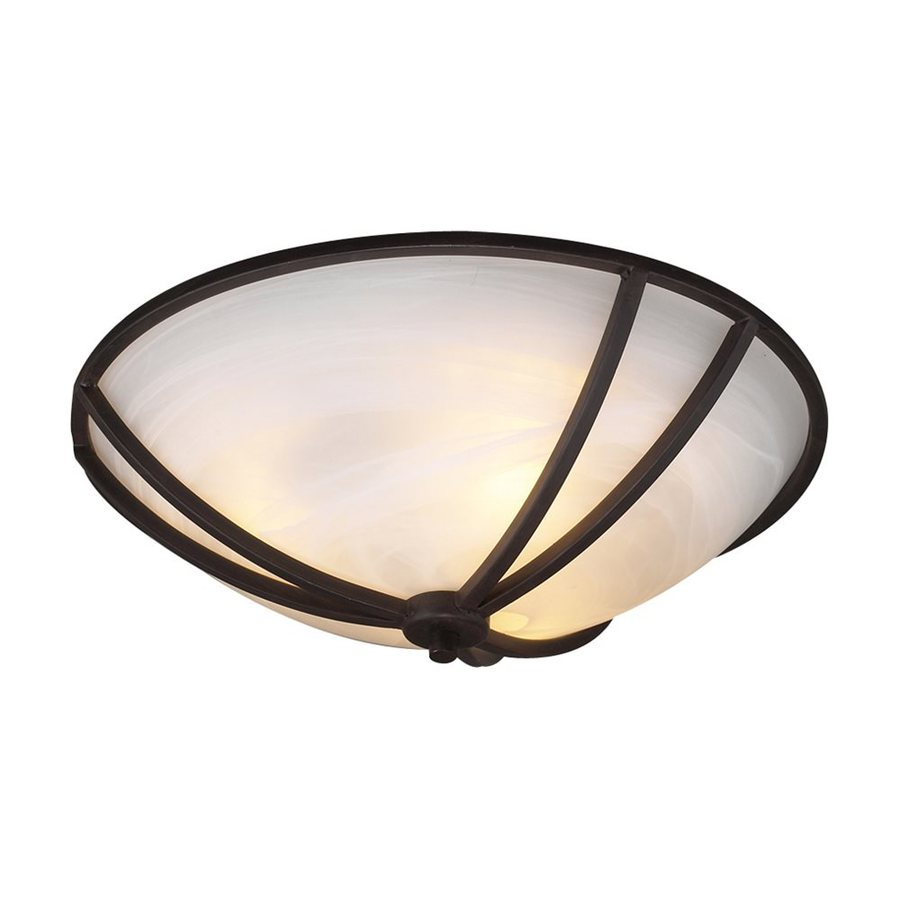 PLC Lighting Highland 16-in W Oil Rubbed Bronze Flush Mount Light