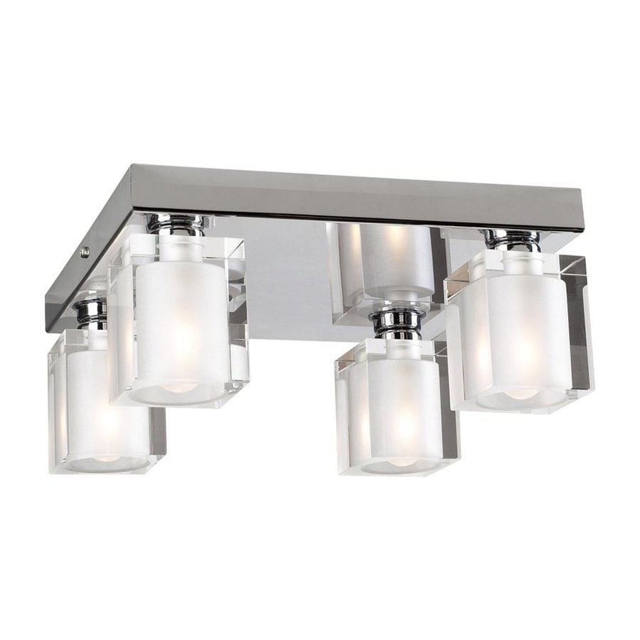 PLC Lighting Glacier 10-in W Polished Chrome Ceiling Flush Mount Light