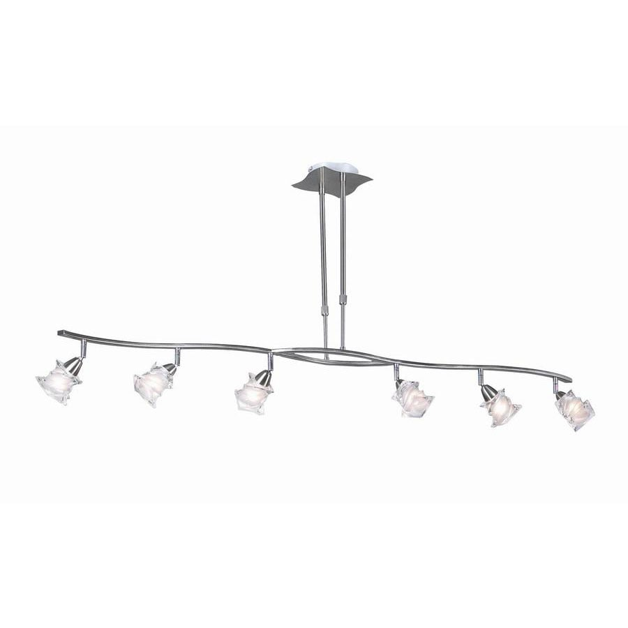 PLC Lighting Avatar W 6-Light Satin Nickel Kitchen Island Light with Frosted Shade