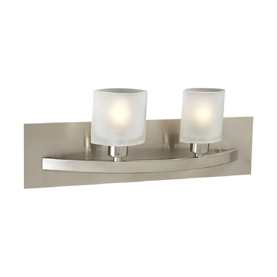 PLC Lighting Wyndham 2-Light 6.25-in Satin Nickel Oval Vanity Light