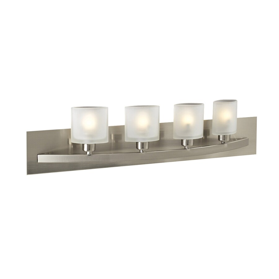 PLC Lighting Wyndham 4-Light 6.25-in Satin Nickel Oval Vanity Light