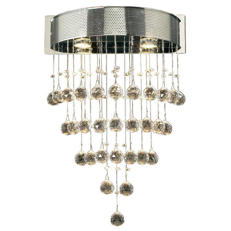 PLC Lighting Beverly 17-in W 1-Light Polished Chrome Crystal Arm Hardwired Wall Sconce