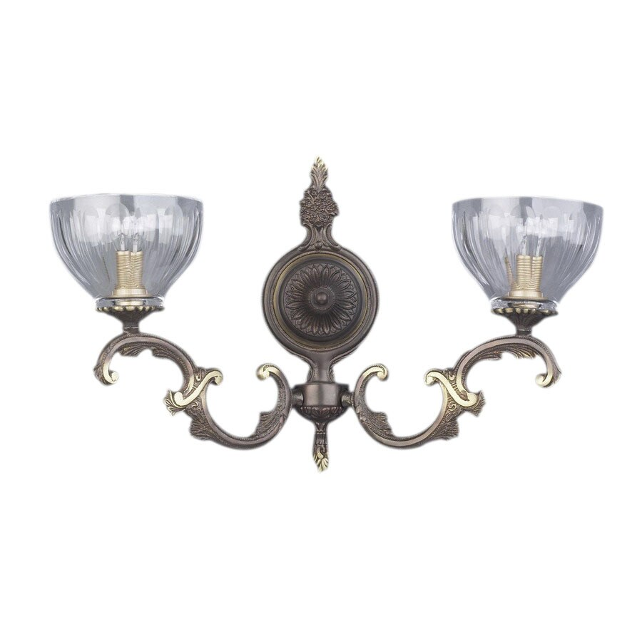 Classic Lighting 15-in W Warsaw 2-Light Roman Bronze Crystal Arm Wall Sconce