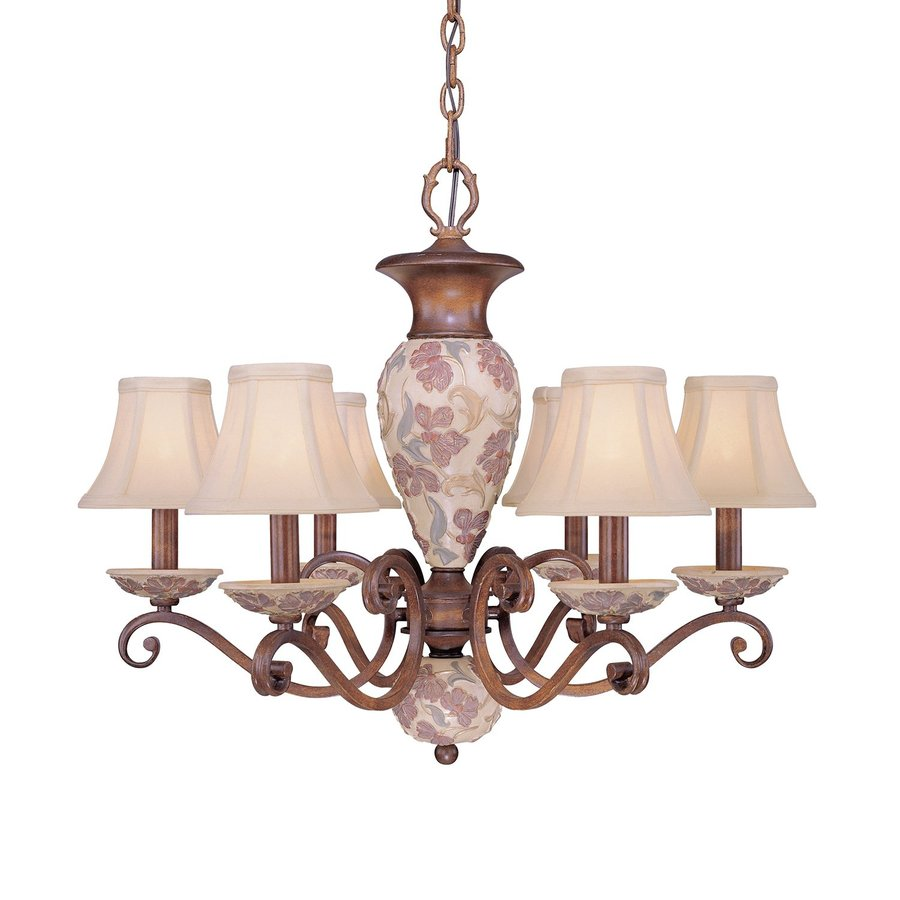 Classic Lighting Tapestry 26-in 6-Light Honey Walnut Country Cottage Shaded Chandelier