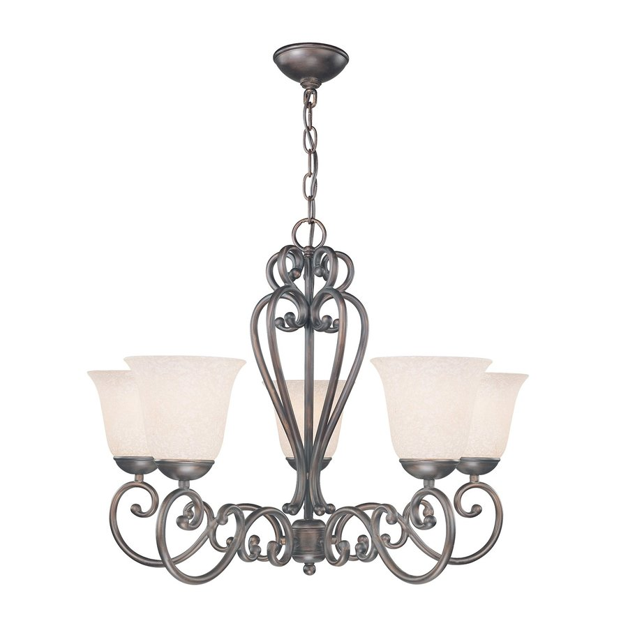 Classic Lighting Cape Cod 26-in 5-Light Oil Rubbed Bronze Mediterranean Shaded Chandelier
