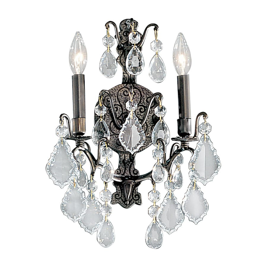 Classic Lighting Versailles 12-in W 2-Light Antique Bronze Crystal Arm Hardwired Wall Sconce