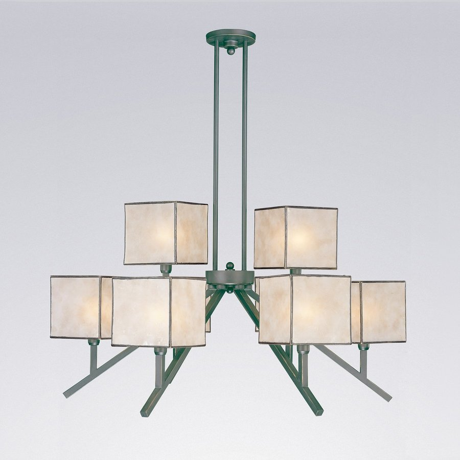Classic Lighting Richland 32-in 8-Light Oil Rubbed Bronze Craftsman Shaded Chandelier