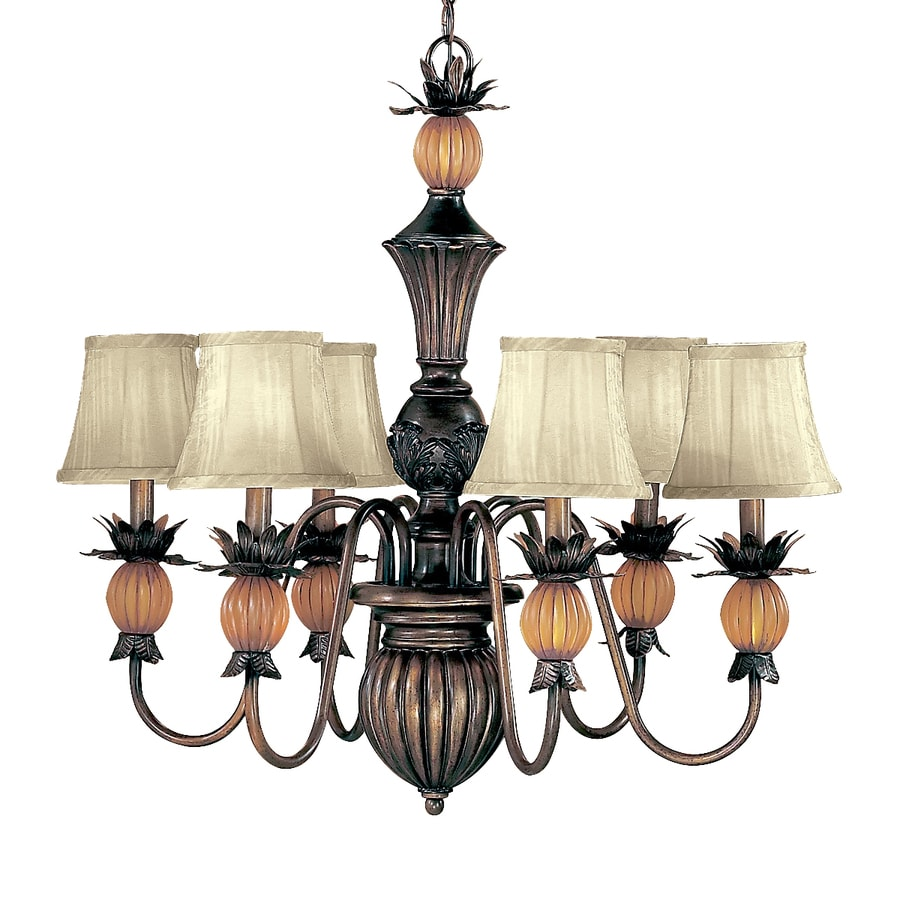 Classic Lighting Topaz 28-in 6-Light Copper Bronze Tropical Shaded Chandelier