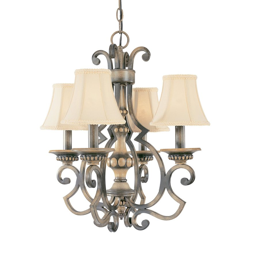 Classic Lighting Westchester 20-in 4-Light Honey Rubbed Walnut Mediterranean Shaded Chandelier
