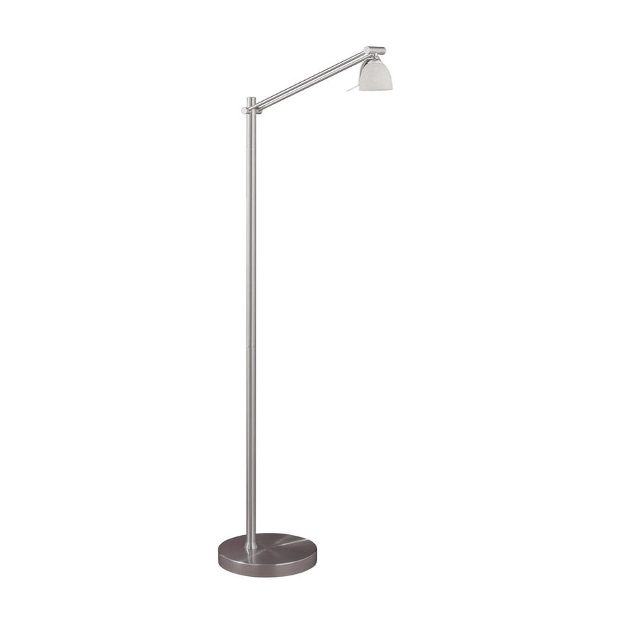 Kendal Lighting 47-in Satin Nickel Touch Downbridge Floor Lamp with Glass Shade