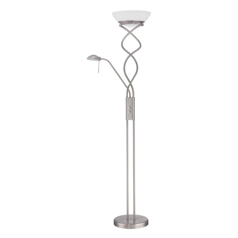 Kendal Lighting 72-in Satin Nickel Torchiere with Side-Light Indoor Floor Lamp with Glass Shade