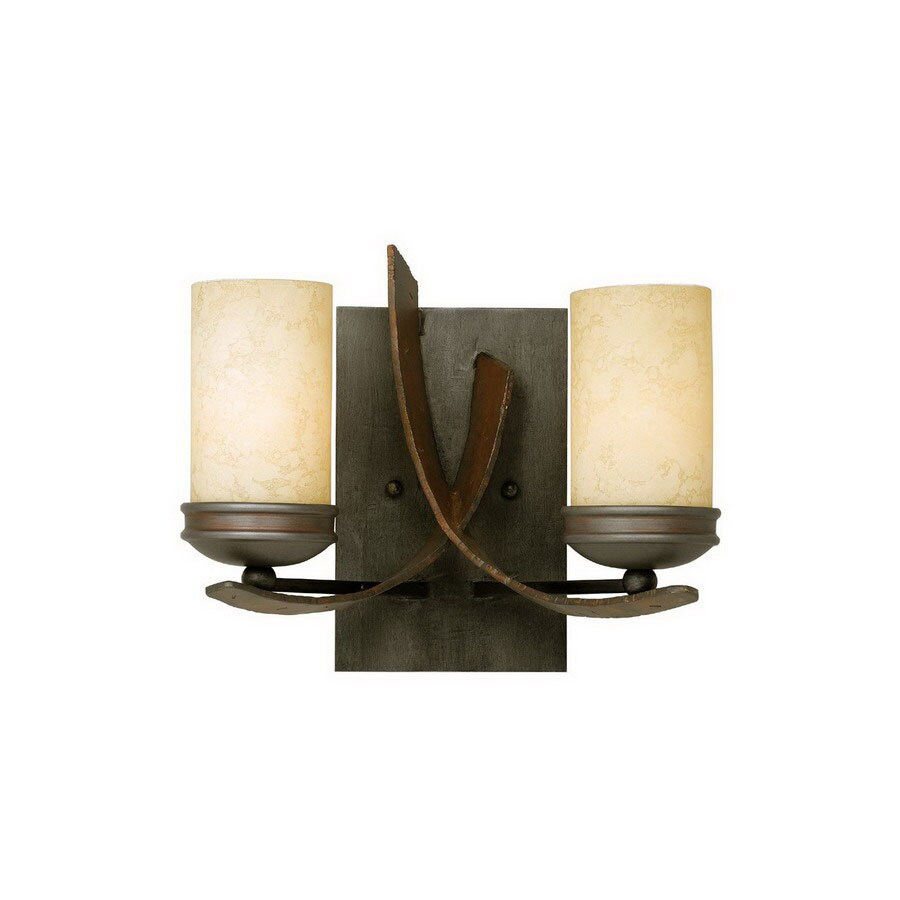 Varaluz Aizen 12-in W 2-Light Aspen Bronze/Hammered Ore Arm Hardwired Wall Sconce