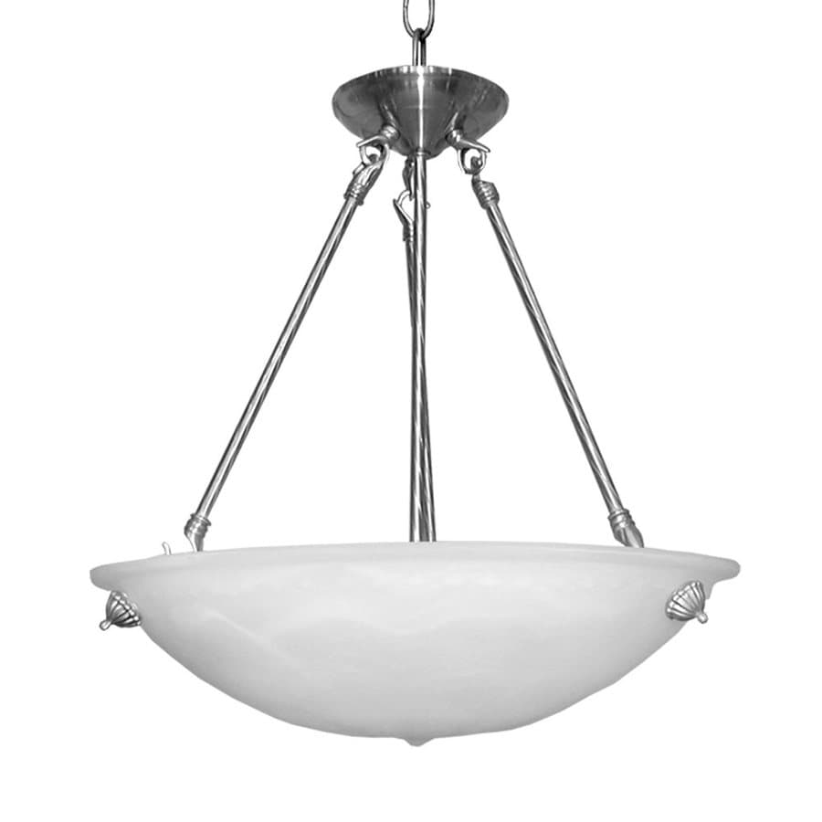 Whitfield Lighting Lindsey 16-in Satin Steel Alabaster Glass Bowl Pendant